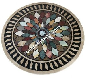 """30"""" Marble Round Dining Table Top Marquetry Inlay Handcrafted Kitchen ArtE624(1)"""