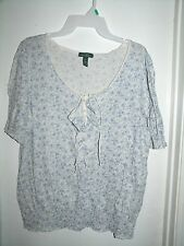 LRL Ralph Lauren Jeans Co White Blue Floral Chest Ruffles S/S Top XL