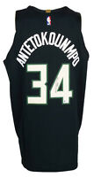 Giannis Antetokounmpo Signed Black Authentic On Court Bucks Jersey BAS ITP