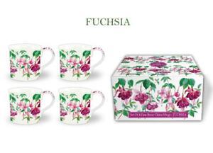 FINE BONE CHINA SET OF 4 GIFT BOXED MUGS FUCHSIA DESIGN