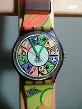Swatch CHEERLEADER Sports Purple Green Clear Retro Watch 1994 GV104