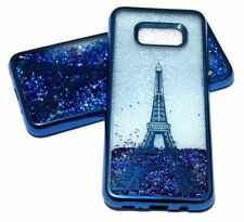 For Samsung Galaxy S8+ PLUS - BLUE EIFFEL TOWER PARIS Glitter Liquid Water Case