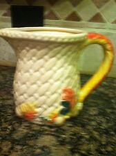Ceramic Porcelain Basketweave Pitcher W/ Colorful Fall Leaves/Acorns Harvest Dec