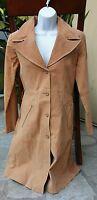 ASHLEY 26 International Women's Long Tan Brown Leather Jacket Coat Size Medium M