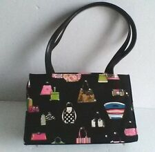 "Purse Handbag Print Canvas Plaid Lining Black Multicolor 9.5""Long 6"" Tall"