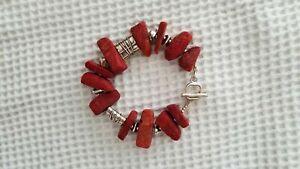 Silpada .925 Red Sponge Coral Sterling Silver Bead Solid Nugget Bracelet B0903