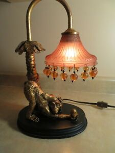 Design Monkey Sculptural Table Lamp with Transparent Shade with Beads