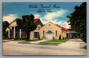 Waldo Funeral Home postcard Sherman, TX, 619 No. Travis, Quality service for all