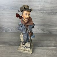 Cowboy Bust Gun Slinger Statue Figure Western Themed Art Piece Barbed Wire
