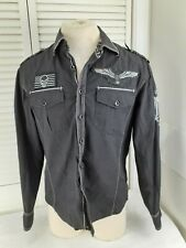 House of Lords,Men's,Medium,Black,Button-Down,Embroidered,Patches,Shirt,Cool