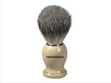 Tweezerman Shave Brush Badger Hair Bristles Wood Handle Shaving Cream Lather NEW