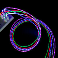 LED flowing Light Up USB Sync Charger Data Cable Charging Cord Fr Type-C Android