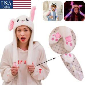 Rabbit Hat Ear Moving Jumping Hat Funny Bunny Plush Hat Cap for Women Girls Gift