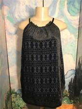 Max Studio XL New Black/Blue Flocked Print Lined High Neck Sleeveless Tunic Top