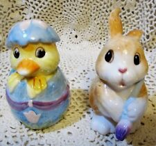 Fitz and Floyd Painting Easter Eggs Salt & Pepper Shakers Bunny & Chick #678/10