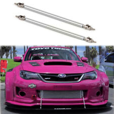 Silver Adjust Front Bumper Lip Splitter Strut Rod Tie Support Bars For Subaru