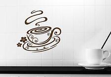 Wall Stickers Demitasse Coffee Flowers Vanilla Aroma Vinyl Decal (n301)