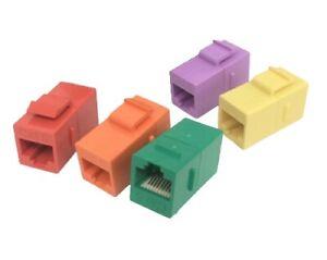 RJ45 Female to Female Coupler 5 PACK - Multi Color UTP Extension Plug CAT6 Cable