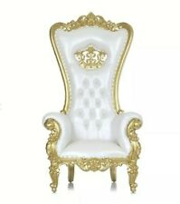 Queen Crown Throne Chair white vinyl with gold finish