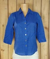 KAREN SCOTT Womens Size Small 3/4 Sleeve Shirt Button Down Polka Dot Blue Top