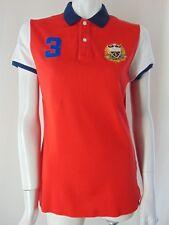 RALPH LAUREN GOLF Polo Red Mesh Fitted Crest #3 Rare Womens Shirt Top M