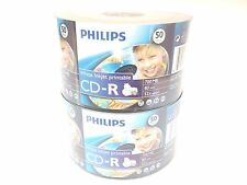 100 Philips CD-R 52X White Inkjet Printable Blank CDR Recordable Disc Media