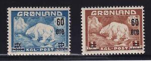 Greenland Sc #39-40 (1956) 60o blue & brown Polar Bear Overprints Mint H