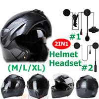 DOT Motorcycle Modular Flip up Full Face Helmet Dual Visor Carbon Fiber +Headset