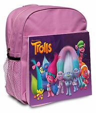 TROLLS CANVAS RUCKSACK BACK/PACK PINK BLUE RED BLACK - PERSONALISE FREE