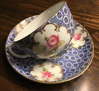 RARE Antique Coalport Tea Cup & Saucer Blue & White Pink Roses Gold Gilt Lovely!