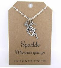 Girls Sparkle Wherever You Go Fairy Rhinestone Silver Message Card Necklace New