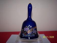 Deep / Dark Blue Ceramic Dinner Bell with Ruffled Edge, Gold Trim, Pair of Birds