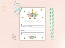 Unicorn Fill in Thank You Cards for Kids - Girls Birthday Fill In Thank You Card