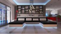 XXL BIG U Form Ecksofa Sofa Couch Polster Garnitur Textil Stoff Wohnlandschaft !