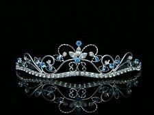 Blue Bridal Rhinestones Crystal Wedding Silver Crown Tiara 6462