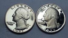 1981-S Proof Washington Quarter Type 1 and 1979-S Proof Type 1 Deep Cameo BU