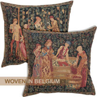 Tapestry Throw Pillow Cover Wine Press Medieval Black Woven Jacquard Belgian