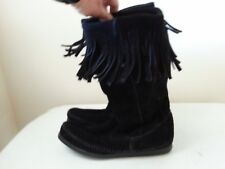 Minnetonka black suede boots with fringe - womens 7 - total height = 10.5""