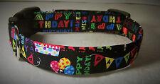 Wet Nose Designs Happy Birthday Dog Collar Party Celebration Cake Balloons Black