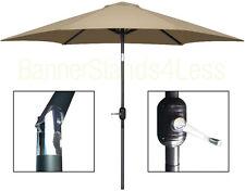 PICKUP ONLY - 9 ft Outdoor Patio Garden Umbrella Market  Crank Tilt - TAN