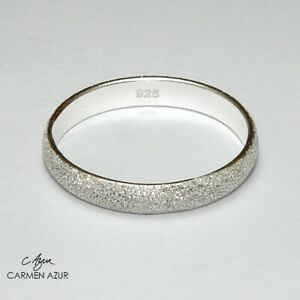 Solid 925 Sterling Silver Ring Frosted Size L1/2,N1/2,O,P1/2,Q New with Gift Bag