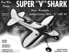 "Model Airplane Plans (UC): Vintage Stanzel 24"" SUPER ""V"" SHARK Class B/C Motor"