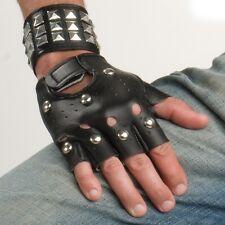 Stud Studded Fingerless 80s Costume Dance Biker Rocker Punk Black Gloves 25189