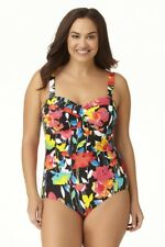 684701e01dc Anne Cole plus size black floral twist front bandeau one piece swimsuit size  16W