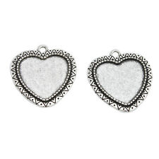 10x Antique Silver Alloy Love Heart Pendant Jewelry Charms Findings Ornaments J