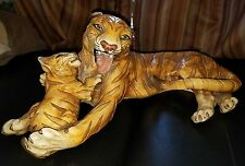 Vintage Marwal Mother Tiger Cub Large Animal Chalkware Figurine Statue Sculpture