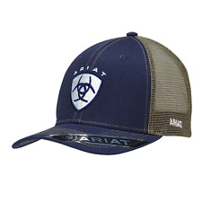 Ariat Mens Hat Baseball Cap Mesh Back Snap Shield Logo Navy Blue 1595303