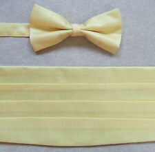 "CUMMERBUND CUMBERBAND & BOW TIE PALE CANARY YELLOW PLEATED MENS UP TO 38"" WAIST"