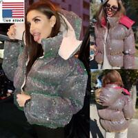 Womens Winter Fluorescent Hooded Quilted Padded Jacket Coat Puffer Outwear