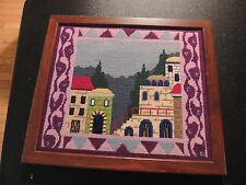Completed Needlepoint Castle Framed Medeval Times